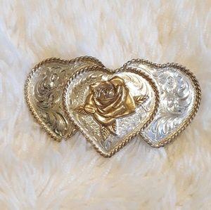 Vintage Rose Silver Belt Buckle